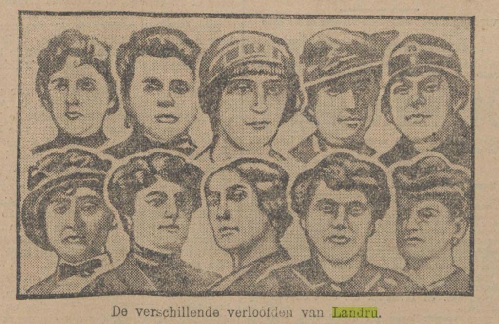 """""""De vrouwen van Landru"""" volgens """"Rotterdams Nieuwsblad"""" 9-11-1921"""